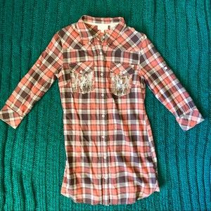 Miss Me Coral Flannel Tunic or Long Shirt NWT